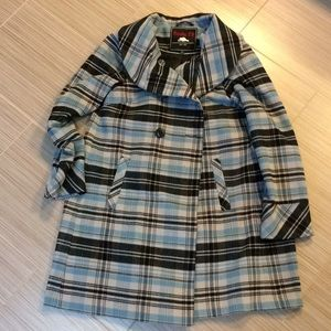 Roots Double Breasted Plaid Swing/Maternity Coat